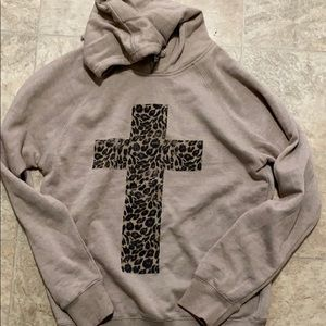 Leopard cross hoodie